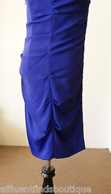 Nicole Miller Indigo Beaded Strapless Silk Dress