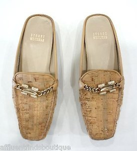 Stuart Weitzman Cork Mules With Jeweledchain Accent Tan Flats