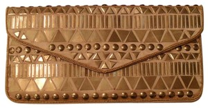BCBGMAXAZRIA Metal Sequin Gold Clutch