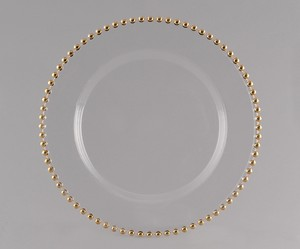 Clear Glass Gold-beaded Charger (set Of 150)