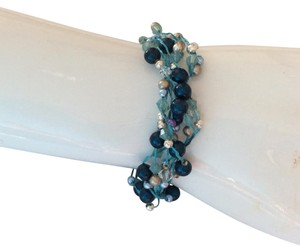 creative designs by appealinglady New Truquoise , blues Swarovski Pearl Bracelet With Pave Stoned Clasp