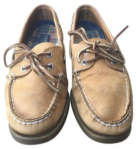 Sperry Hand-sewn Durable Comfort Leather Boat Sahara Leather Flats