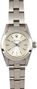 Rolex Rolex Ladies Oyster Perpetual No Date Silver Stick Dial Watch 67180