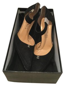 Chanel $995 Suede Cc Logo Buckle Ankle Strap Holiday Party + Box & 1 Dustbag 38 Black Pumps