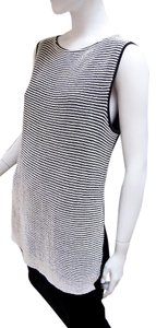 Lafayette 148 New York Knit Knit Vest Sleeveless Striped Vest Top Black/white