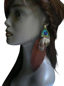 Other Women Earrings Set Brown/Green Peacock Feathers Long 7