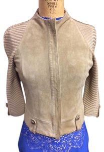 St. John 3/4 Sleeve Suede Knit Sleeves Tan Leather Jacket