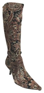 Bronx Pointed Toe Print Brown Boots