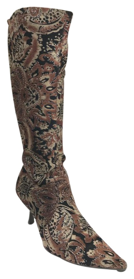 Bronx Brown Pointed Toe Print Boots/Booties Boots/Booties Print ec55bf