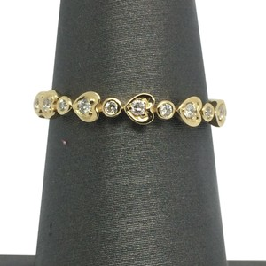 14K Solid Yellow Gold Natural Diamonds Band/ Stackable