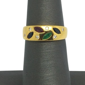Other 18K Solid Yellow Gold Natural Multi-Color Stone and Diamond Ring