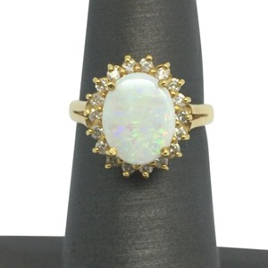 18K Solid Yellow Gold Opal and Diamond Ring