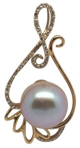18K Rose Gold Diamond and Fresh Water Pearl Pendant