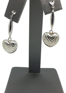 Other 18K White Gold Diamond Cut Dangling Heart Earrings
