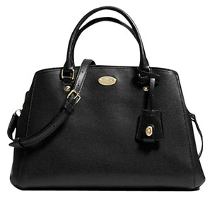 Coach Margo Carryall Leather Gold Satchel in Black