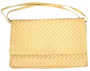 Bottega Veneta Cream Woven Leather Gold Tan Clutch