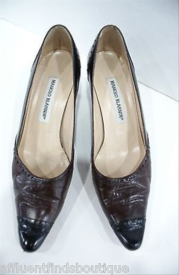 Manolo Blahnik Manolo Wingtip Leather Black & Brown Pumps