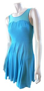 Express Fit Flare Above Knee Turquoise Sleeveless 7362 Dress