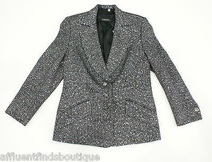 Escada Escada Black Striped Jacket With Silver Sequins Or 810