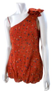 Only Mine Floral Chiffon Boho Retro 7361 Top Orange
