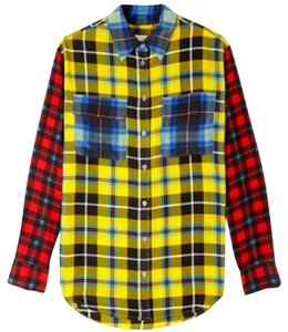 Equipment Button Down Shirt Red blue yellow black
