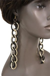Other Women Earrings Set Gold/Black Double Chain Metal Trendy Jewelry