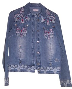 Poco jeans Jean Stretch Embroidered Embellished blue Womens Jean Jacket