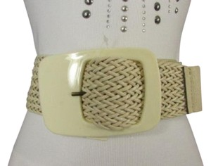 Other Women Ivory White Braided High Waist Trendy Belt Retro Buckle Fits S M
