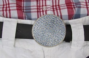 Other Women Men Western Belt Buckle Large Light Blue Circle Rhinestones