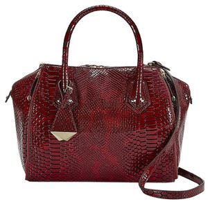 Rebecca Minkoff Bordeaux Python Patent Leather Mini Perry Satchel Tote in Red