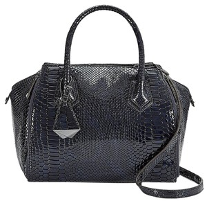Rebecca Minkoff Midnight Python Patent Leather Mini Perry Satchel Tote in Blue