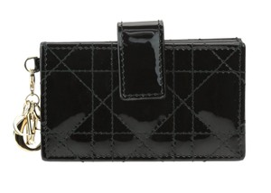 Dior Black Patent Leather Gusseted Lady Dior Card Holder