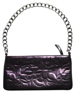 Chanel Camellia Metallic Embossed Chain Silver Wristlet in Purple