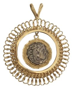 Other 14k Gold And Silver Coin Alexander the Great Pendant
