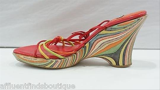 Stuart Weitzman Ankle Tie Redorange Wood Wedges Multi-Color Platforms
