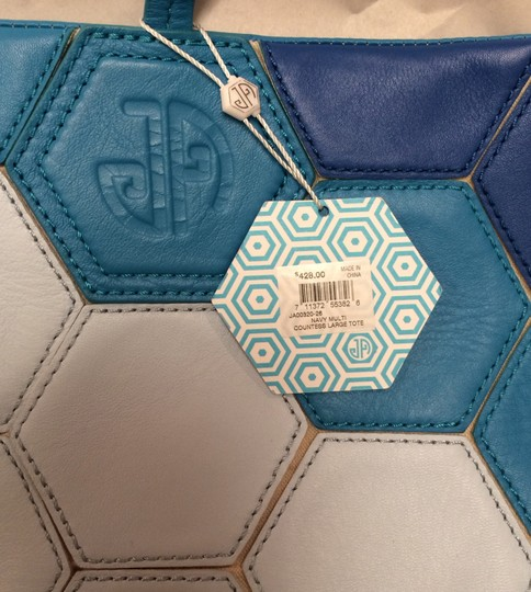 Jonathan Adler Leather Lambskin Canvas Tote in Blue Multi