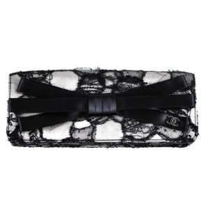 Chanel Lace Crystal Bow Satin 2009 Black Clutch