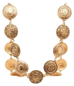 Chanel #9274 Large medallion gold 19 motif two way necklace belt