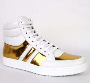 Gucci White/Gold 9068 Men's Contrast Padded Leather High-top 368494 Us 9 Shoes