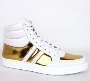 Gucci White/Gold 9068 Men's Contrast Padded Leather High-top 368494 Us 6.5 Shoes