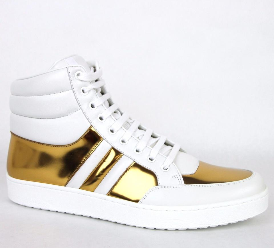 Gucci White/Gold 9068 Men\u0027s Contrast Padded Leather High,top 368494 Us 6.5  Shoes 44% off retail