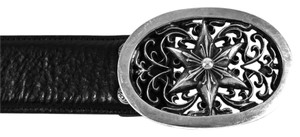 Chrome Hearts CHROME HEARTS BELT - US L - BLACK LEATHER STERLING SILVER STAR BUCKLE