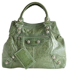 Balenciaga Leather 21mm Giant Hardware Tote in Green