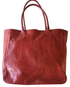 Daniela Moda Leather Embossed Crocodile Tote in Red