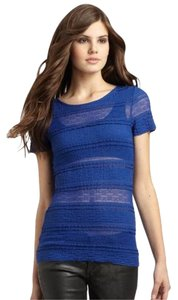 BCBGMAXAZRIA Striped Lace Top Blue