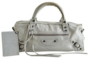Balenciaga Leather Satchel in Pale Gray