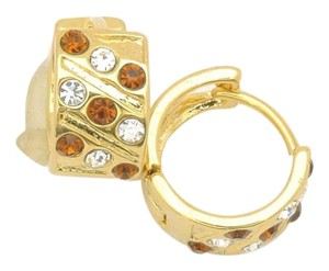 Other 18KT Gold Filled Huggie Brown and Clear Crystal Hoop Earrings