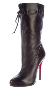Christian Louboutin Round Toe Gold Hardware Ankle Black Boots