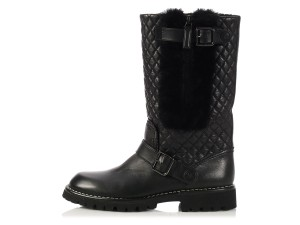 Chanel Ch.k1102.06 Leather Biker Cc Boots