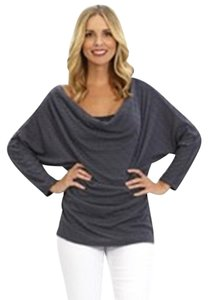 Jarbo Drape Neck Long Sleeve Cowl Neck Top gray